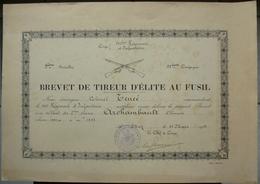DIPLOME BREVET DE TIREUR D' ELITE AU FUSIL - 151 ème REGIMENT INFANTERIE - MILITARIA - 1933 - Documents