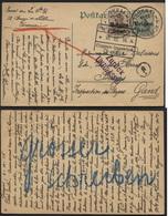 "Entier CP 5+3c Obl. TOURNAI Vers Gand 1916 + Retour Censure ZURUCK/UNZULLASSIG Et Verso Crayon Bleu ""Grosser Schreiben"" - Guerra '14-'18"