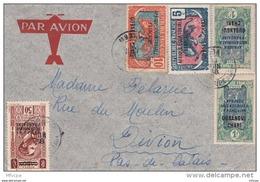 L4C026 OUBANGUI CHARI  YvT 63, 46 Paire V 60 , 46 + AEF 50c /Lettre Mobaye Oubangui Chari 11 06 1938 Pour Divion  PdC - Oubangui (1915-1936)