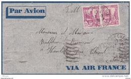 L4C073 TUNISIE LettrePA Paire 75c YvT 172/ Cad La Pecherie 17 02 1936 Pour Haulchin Nord - Tunisia (1888-1955)