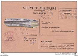 L4C309 France 1951 L Recensement Personnel De Réserve Compiègne (Oise) Pour Orchies (Nord) FM BCIAAA 25 11 1951 - Francia