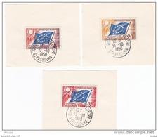 L4C418 France 1958 Obl PJ Conseil De L'Europe Sur Fragment 8f 20f 35 F Cad PF 13 10 1958 - 1950-1959