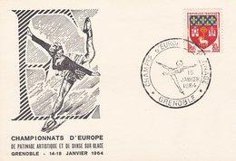L4C422 France 1964 Obl Com. GF Championnat Europe Patinage Artistique  Grenoble 10 01 1964/ Fragment - Marcofilia (sobres)