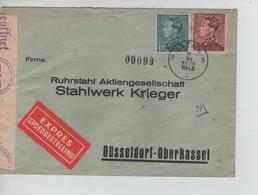 REF106/ TP 430-531 Poortman S/L.Exprès C.Liège 2/6/1943 Censure 'c' + C78 > Düsseldorf C.d'arrivée - Guerre 40-45