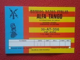 TARJETA TIPO POSTAL TYPE POST CARD QSL RADIOAFICIONADOS RADIO AMATEUR ALFA TANGO ITALIA SPAIN ESPAÑA VALENCIA FLAG VER.. - Tarjetas QSL