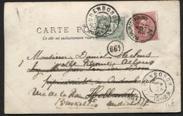 N°58 Obl. NAMUR STATION S/CP 1904 + Réaffranchi TP Hollandais 2½c Obl. OUDENBOSCH Et Retour - 1893-1900 Fine Barbe