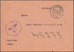 Feldpost Aptierter Briefstempel Vom PF 56041 Brief LUXEMBURG 18.8.44 An PF 45273 - Besetzungen 1938-45