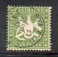 Q105 - WURTTEMBERG 1860 , Unificato N. 18 Usato . Dent 13 1/2 - Wuerttemberg
