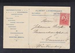 Romania PC 1913 Perfin Albert Liebermann Bucharest - Cartas