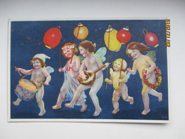 NUDE ANGEL BOYS WITH LANTERNS  , FINLAND TPO RAILWAY  TPO  , HAMINA 1925  , OLD  POSTCARD , 0 - Compleanni
