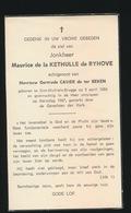 ADEL NOBLESSE  MAURICE De La KETHULLE De RYHOVE - ST. MICHEL BRUGES 1884 - 25 DEC 1967 - Overlijden