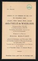 ADEL NOBLESSE  JACQUES Della FAILLE De WAERLOOS - ANTWERPEN 1898  BERCHEM ANTW. 1954 - Todesanzeige
