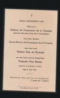 ADEL NOBLESSE  BARONES DONS De LOVENDEGEM - ANNE MARIE De FORMANOIR De La CAZERIE - H.STAS DE RICHELLE - ZIE AFBEELDING - Décès