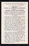 ADEL NOBLESSE  ELISABETH CARDON De LICHTBUER - MERELBEKE 1900 DESTELBERGEN 1985 - Todesanzeige