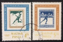 Hungary Used 1985 International Stamp Exhibition OLYMPHILEX, Lausanne - Witer Sports, Figure Skating, Ski - Usado