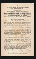 ADEL NOBLESSE  BARON PHILIPPE De CROMBRUGGHE De PICQUENDAELE - BURGEMEESTER VLADSLO - GENT 1899 - BRUGGE 1952 - Overlijden
