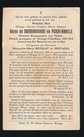 ADEL NOBLESSE  BARON PHILIPPE De CROMBRUGGHE De PICQUENDAELE - BURGEMEESTER VLADSLO - GENT 1899 - BRUGGE 1952 - Décès