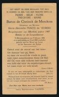 ADEL NOBLESSE  BARON PIERRE De CONINCK De MERCKEM - BURGEMEESTER MERKEM - MERKEM 1882 - 1963 - Overlijden