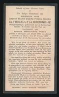ADEL NOBLESSE  GASTON De THIBAULT De BOESINGHE - OETINGHEN 1898 - ELSENE 1933 - Overlijden