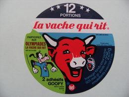 """Etiquette Fromage Fondu - Vache Qui Rit - 12 Portions Bel Pub """"Goofy Aux Olympiades"""" Walt Disney   A Voir ! - Cheese"""