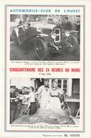 """Catalogue De L'Automobile-Club De L'Ouest Pour 50 Ans Des 24h. Du MANS (12p.) T. à D. / 1761 Sur Feuillet """"Coupe Rudge. - Automobile - F1"""