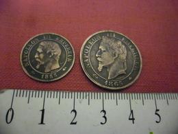 LOT 2 Monnaies NAPOLEON III 2 Centimes 1855 D Lyon Et 5 Centimes 1865 A En TTB En Bronze - France