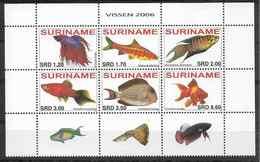 2006 SURINAM 1830-35 **  Poissons+ Vignette - Suriname