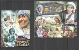 BC1162 2012 MOZAMBIQUE MOCAMBIQUE FAMOUS PEOPLE MOTHER TERESA 1SH+1BL MNH - Mutter Teresa