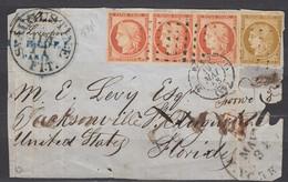 Rare - Devant De Lettre Bande 3 N5 (côte 2300€) + N1 (pd) Roulette Gros Points Paris- Jacksonville. Signée Roumet, - 1849-1850 Cérès