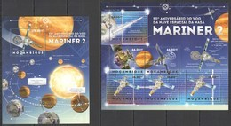 BC1177 2012 MOZAMBIQUE MOCAMBIQUE SPACE 50TH ANNIVERSARY NASA SPACESHIP MARINER 2 1KB+1BL MNH - Other