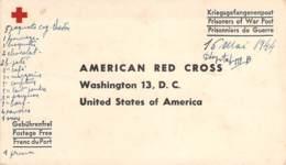 Marcophilie - Franchise Militaire USA Ww2 1944, American Red Cross, Carte Prisonnier De Guerre, Prisoners Of War Post - Etats-Unis