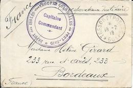 DEPOT DES ISOLES DES TROUPES COLONIALES DE PORT SAID - SECTEUR POSTAL N° 601 -   EGYPTE - 3 CERCLES VIOLET - Marcofilia (sobres)