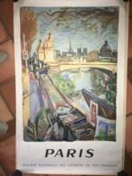 Affiche Originale De Gare SNCF 100x62 PARIS Illustrée Par Planson Années 1953 - Plakate