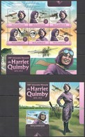 BC1203 2012 MOZAMBIQUE MOCAMBIQUE TRANSPORT AIRCRAFTS AVIATION HARRIET QUIMBY 1KB+1BL MNH - Airplanes