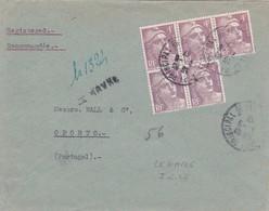 4f Gandon X 5 S / Env Recommandée Provisoire T.P. Ob Le Havre 7 6 47 Pour Porto Portugual - 1945-54 Marianne Of Gandon