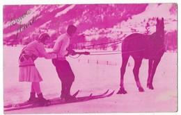 Sports D' Hiver Ski Bonne Année Couple De Skieurs Tiré Par Un Cheval Edition Noyer 2270 - Wintersport