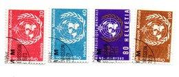OMM. Organisation Météorologique Mondiale N° 10- 11-12-13 Oblitéré - Service