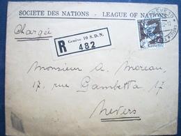 Rare Timbre Sur Enveloppe , Suisse ,1 Timbre 1932...chargée.enveloppe Société Des Nation,envoyée à Paris..75 - Suisse
