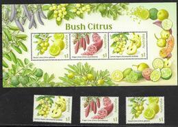 AUSTRALIA, 2019, MNH,  FRUIT, BUSH CITRUS, LIME, 3v+SHEETLET - Fruits
