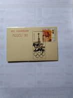 Cuba The  Pictorial Postmark Olimpic Moscow Moscú 80 July 19 1980 On Card - Verano 1980: Moscu