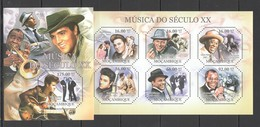 BC1005 2011 MOZAMBIQUE MOCAMBIQUE FAMOUS PEOPLE MUSIC OF XX CENTURY ELVIS SINATRA ARMSTRONG 1KB+1BL MNH - Musique