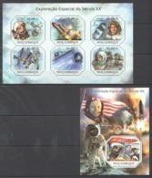 BC1007 2011 MOZAMBIQUE MOCAMBIQUE SPACE EXPLORACAO ESPACIAL GAGARIN ARMSTRONG 1SH+1BL MNH - Space