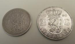 Pays-Bas / Nederland - 2 Monnaies 1 Gulden 1914 Et 2 1/2 Gulden 1960 - Argent - Pays-Bas
