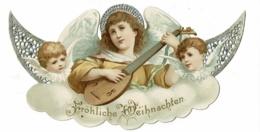 """Carton Découpé & Ajouré 11.5 X 21cm """"Frôhliche Weihnachten"""" Saint Jouant Du Luth Encadré Par Deux Angelots - Cromo"""