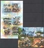 BC1064 2011 MOZAMBIQUE MOCAMBIQUE FAUNA ANIMALS RHINO RINOCERONTES 1SH+1BL MNH - Rhinoceros