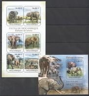 BC1077 2011 MOZAMBIQUE MOCAMBIQUE FAUNA ANIMALS ELEPHANTS ELEFANTE-DA-SAVANA 1SH+1BL MNH - Elephants