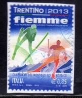 ITALIA REPUBBLICA ITALY REPUBLIC 2013 CAMPIONATI DEL MONDO DI SCI NORDICO VAL DI FIEMME EURO 0,85 USATO USED OBLITERE' - 2011-...: Oblitérés