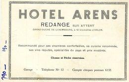 Grand- Duché De Luxembourg  Redange Hôtel Arens Carton Publicitaire 2 Scans-grandeur Carte Postale - Cartes Postales