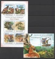 BC1090 2011 MOZAMBIQUE MOCAMBIQUE FAUNA ANIMALS GATOS SELVAGENS 1SH+1BL MNH - Big Cats (cats Of Prey)