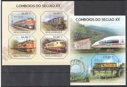 BC1107 2011 MOZAMBIQUE MOCAMBIQUE TRAINS COMBOIOS 1KB+1BL MNH - Trenes